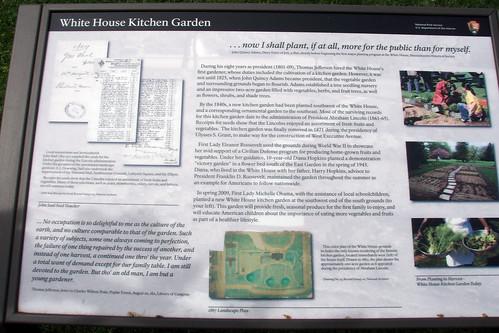 white house vegetable garden information plaque