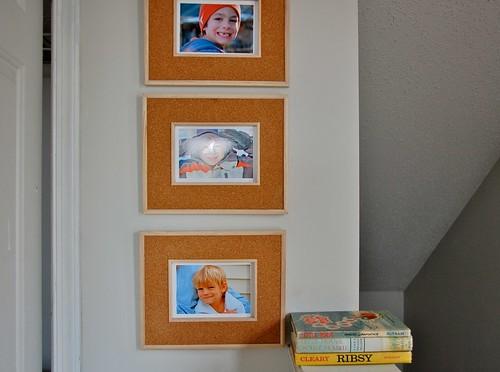 framed photos in the playroom