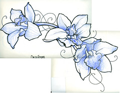 Orchid flash tattoo (TURKESA (old profile)) Tags: orchid flower tattoo drawing flash saturno turkesa rabodiga saturnoags