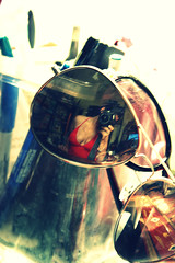 Self Portrait - May (bornwrosesinhereyes) Tags: camera red selfportrait reflection girl sunglasses pencils effects crossprocessed latina pens brunette bathingsuit picnik