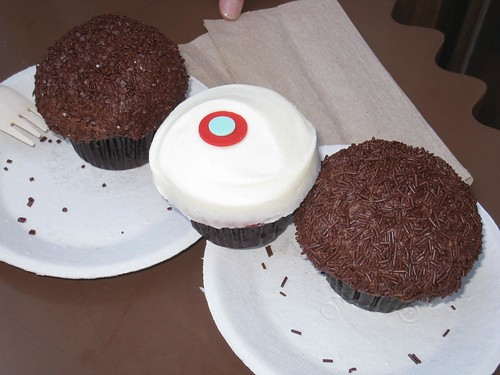 Sprinkles cupcakes: a few chocolate variations with red velvet in the middle.
