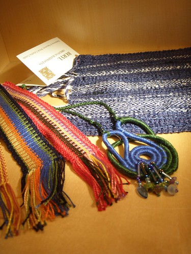 bookmarks and fibre jewelry