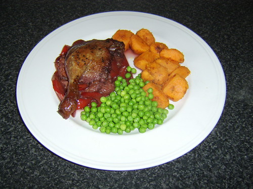 Duck Leg with Plum and Ginger Sauce and Crispy Sweet Potatoes