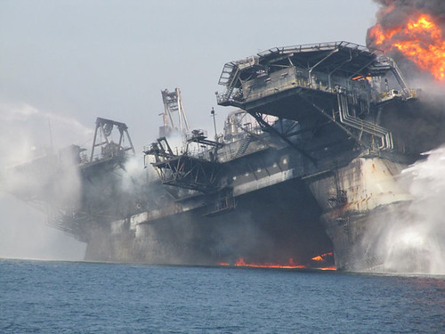 New views of the Deepwater Horizon oil rig burning after the deadly explosion that killed 11 oil workers. The rig then sank into the Gulf of Mexico, sparking a massive disaster that is causing untold damage to the sensitive environment and wreaking economic havoc in the region.