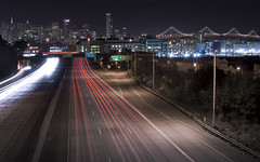 Where The Freeway Ends (Matt Granz Photography) Tags: sanfrancisco night lights nikon downtown skyscrapers wideangle tokina motionblur freeway baybridge lighttrails 1224mm d90