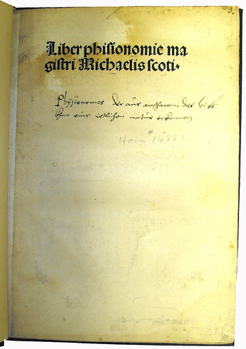 Title Page with Annotation from 'Liber Physiognomiae' (Sp Coll Ferguson Ak-a.40)