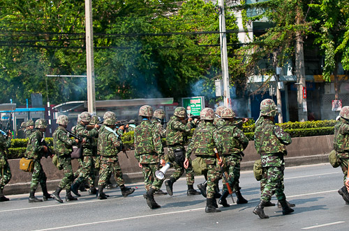 Soldiers firing at protesters, Rama IV, Bangkok