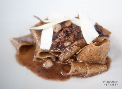 PAPPARDELLE, chestnut and black pepper pasta, wild boar,  charred leeks, ricotta salata 23