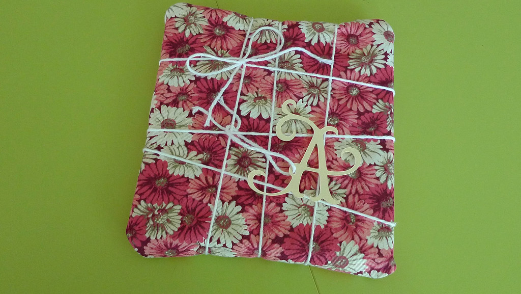 fabric scrap wrapped present