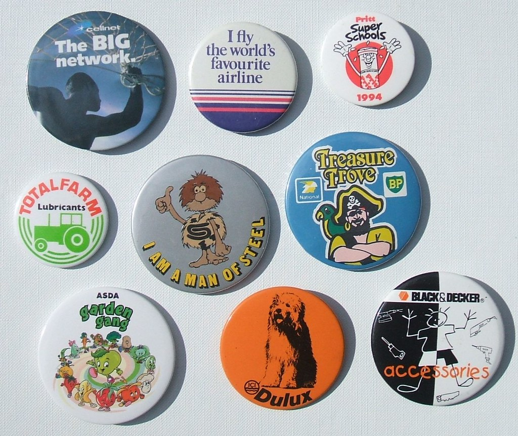 Promotional button badges 1970's - 1990's