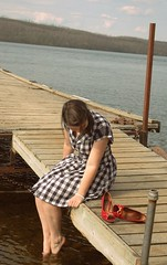 5.21.10 (Addie_marie) Tags: lake water fashion vintage clothing dock picnic dress handmade gingham 1940s 40s dailyoutfit