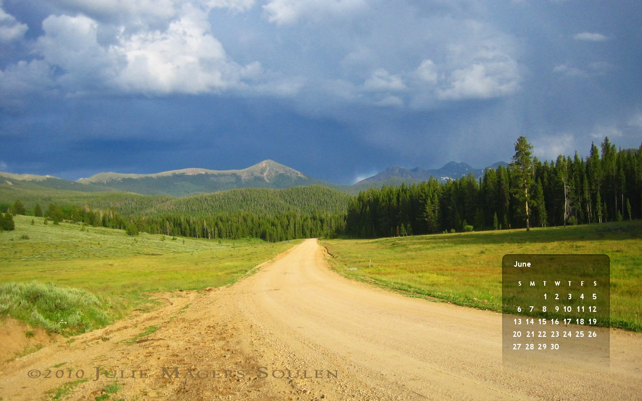 June 2010 free wallpaper calendar, Colorado Service Road