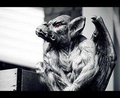 Gar (Nael AJ) Tags: red white black eye muscles grey sitting looking wing away gargoyle ugly fangs nael topwli