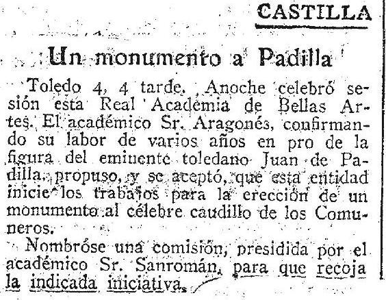 Noticia de la creación de una comisión por la petición de un monumento a Juan de Padilla en Toledo. Diario ABC,5 de enero de 1926