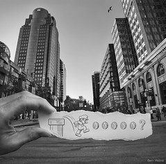 Pencil Vs Camera - 24 (Ben Heine) Tags: street city windows light wallpaper sky people blackandwhite bw canada money game bird art tarmac speed skyscraper buildings paper poster pie idea freedom fly sketch vanishingpoint downtown hand quebec coins lumire montreal nintendo perspective creative run nb business illusion series vol concept crow capitalism conceptual activism asphalt copyrights saga rue luigi oiseau pice argent ville dollars urbanlandscape jeu nowadays vitesse fentres anticapitalism macadam corbeau politicalart jemesouviens gratteciel supermariobros greytones financialcrisis benheine drawingvsphotography infotheartisterycom pencilvscamera imaginationvsreality
