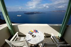 Our balcony view (John & Mel Kots) Tags: sea island hotel balcony aegean hellas santorini greece grecia caldera cyclades grece thira cycladic balconyview aegeansea irahotel