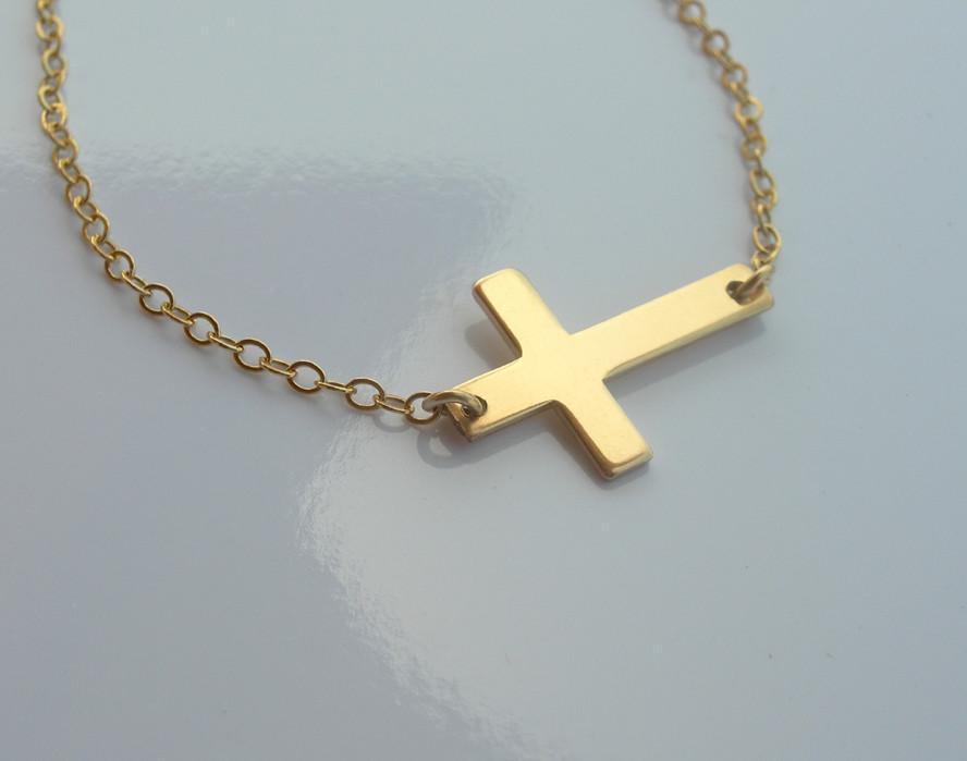 Sideways Cross Necklace Golf Filled