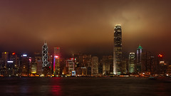 Victoria Harbour (Dennis Wong) Tags: china sea sky panorama building water skyline architecture modern night skyscraper canon dark landscape hongkong eos harbor boat waterfront harbour famous scenic bank scene victoria hong kong standard   ifc hsbc chartered       canon40d