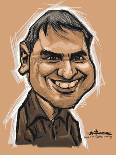 Digital caricature of caricaturist Raúl Curbelo Belén