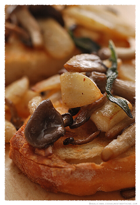 Salsify and Shimeji Bruschetta© by Haalo