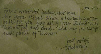 es note to teacher