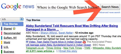 Google News Web Search Button