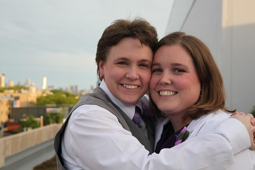 Finally married!  With Chicago in the background