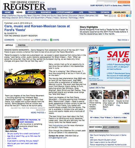 OC Register Ford Fiesta article