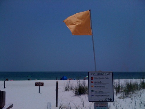 Swimming Caution Flag for Tarballs