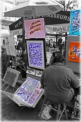 Visiting Place du Tertre (Paris) (sipazigaltumu) Tags: blue orange paris france color colour art modern painting frankreich place du painter couleur montmatre tertre selective maler gemlde monogrome fotocompetition fotocompetitionbronze