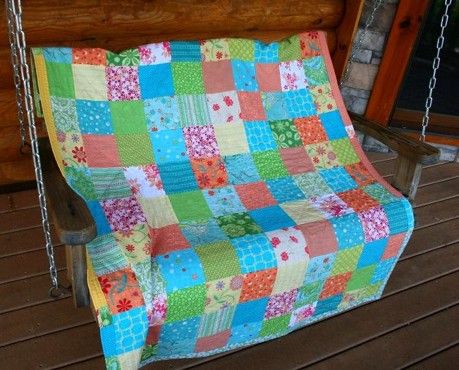 Summer quilt on swing