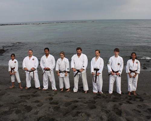 Karateka on the beach