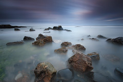 Swine Den, Howick (Alistair Bennett) Tags: longexposure sunset seascape coast rocks waves northumberland howick craster cullernosepoint canonefs1022 swineden gnd09he big10stopper