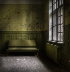 The green room .... (andre govia.) Tags: wood light green abandoned window hospital insane closed paint decay room ghost best andre explore sofa ward sanatorium asylum derelict ue lier mental mentalhospital lear urbex workhouse testimonial madhouse thegreenroom govia andregovia radeator