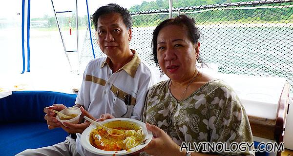 My parents enjoying their food