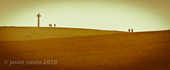 Walkers on Tennyson Down (s0ulsurfing) Tags: uk autumn vacation england people panorama holiday green tourism grass canon downs walking relax landscape island photography october holidays mood hiking widescreen grain silhouettes atmosphere down tourist panoramic minimal hills simplicity isleofwight 7d letterbox minimalism simple cinematic isle figures minimalist alternative humans choose wight 2010 tinypeople westwight s0ulsurfing jasonswain gettyvacation2010 welcomeuk