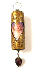 Victorian Christmas Ornament - Burnished Gold - Amethyst Angel Cylinder Bead (2)