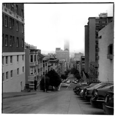 The City (loren hamilton) Tags: california street fog hostel san francisco hamilton cm hasselblad f taylor adelaide pan loren 500 50 ilford 80mm