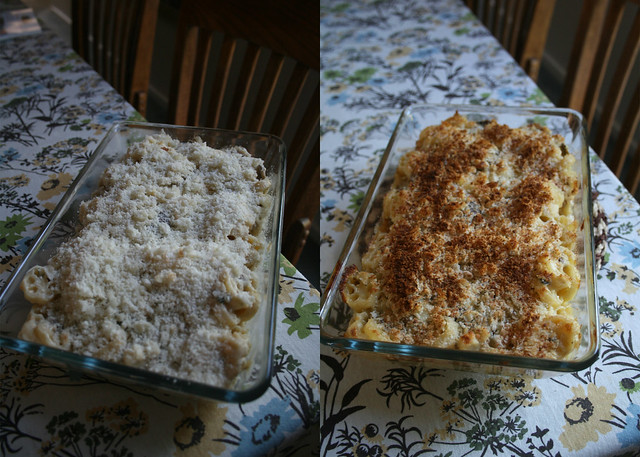 baked mac & cheese, before and after