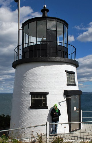 Jamie & her green hat at Owl's Head Lighthouse