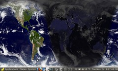 World Sunlight Map background wallpaper on EEEPC running EasyPeasy / GNOME desktop