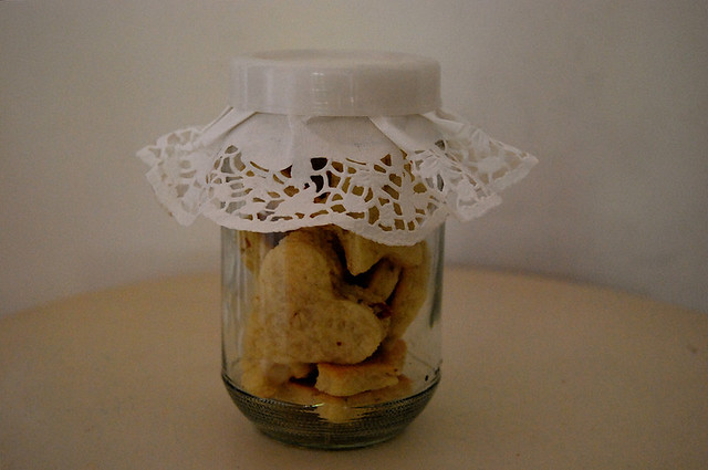 almond biscuits in a jar