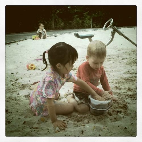 building a sandcastle