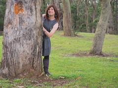Emerging (justplainrachel) Tags: justplainrachel grey dress crossdresser tgirl transgender transvestite trans tunic frock selfie selfportrait tree cd tv leggings boots