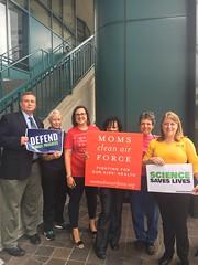 Members of Moms Clean Air Force, the AFL-CIO and the Sierra Club at a RAA accountability event in front of Portman's Cincinnati office.