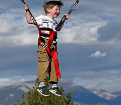 Bungee Boy (Colorado Sands) Tags: boy fun recreation colorado sandraleidholdt coloradosprings jump people happy bungee bungeejumping