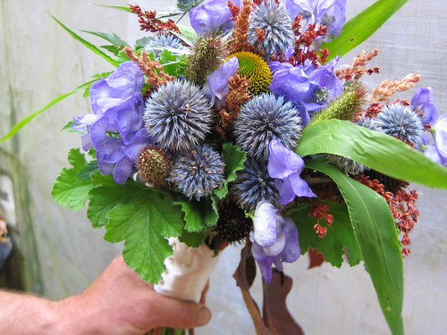 Blues and browns bouquet by shady grove gardens.