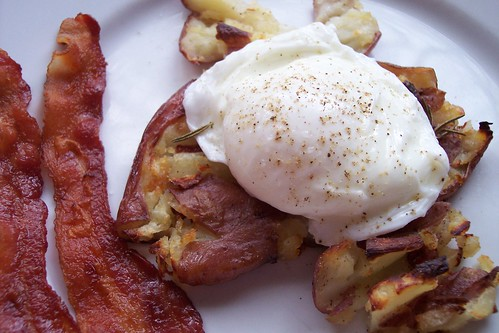 Crash Hot Potatoes with Poached Eggs