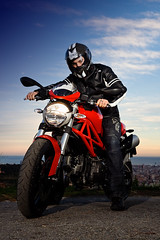 Ducati rider (hyde_) Tags: barcelona red monster motorbike hyde moto ducati strobist