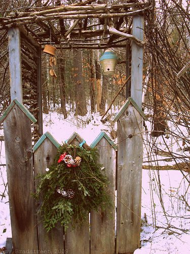decorated birdhouse gate